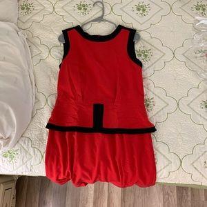 Red+Black Simple Long Dress